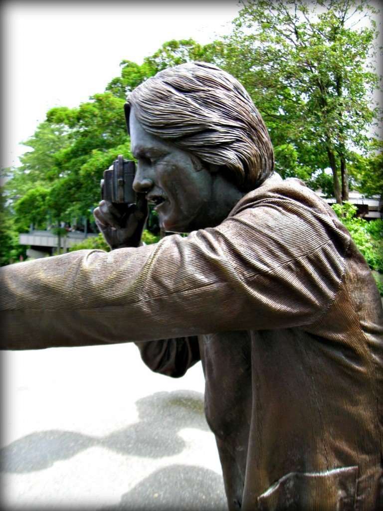 Photographer in Bronze Q.E. Gardens Vancouver
