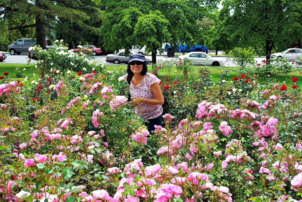 Smelling the perfume of the Rose Garden