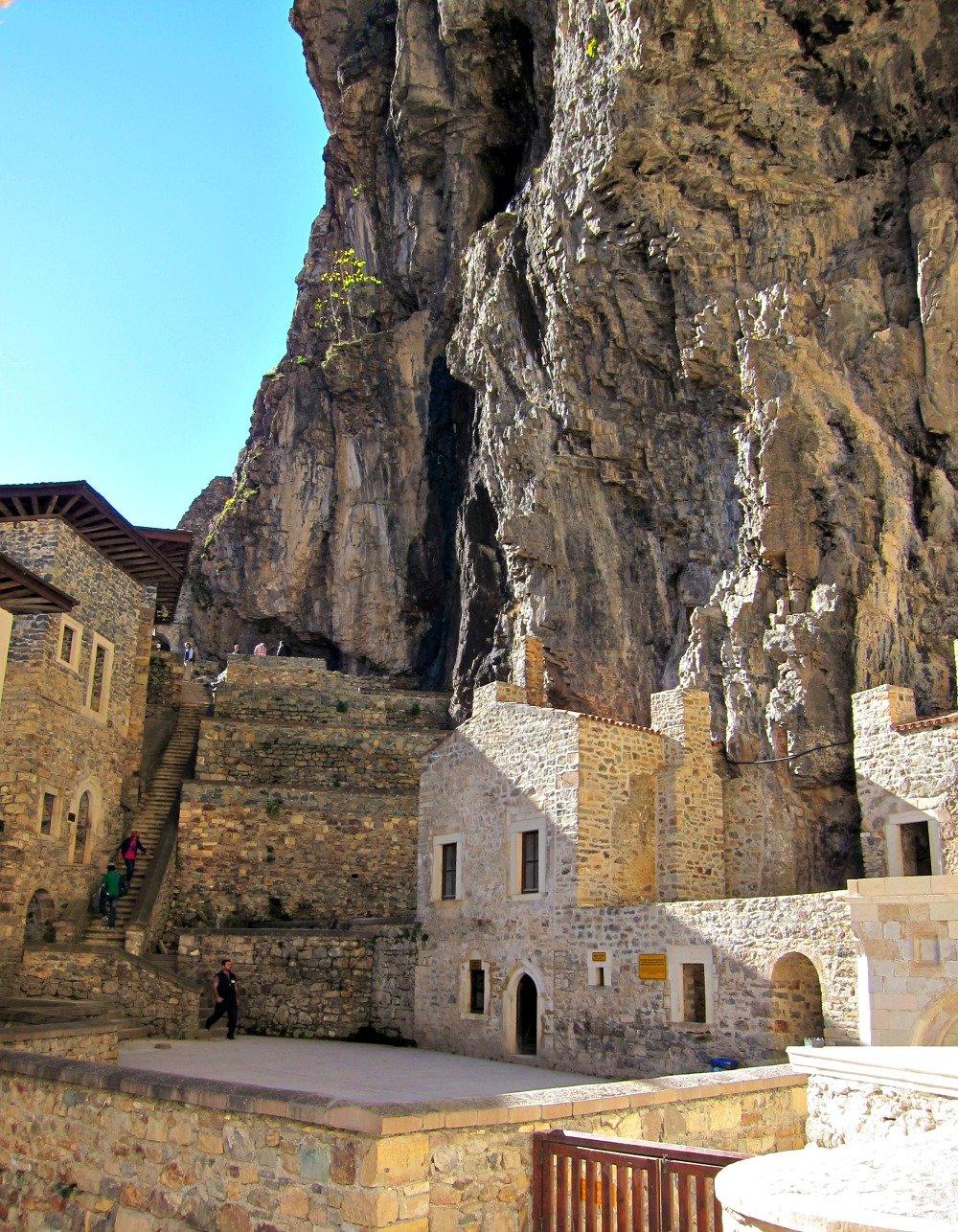 Inside the cluster of Sumela Monastery.