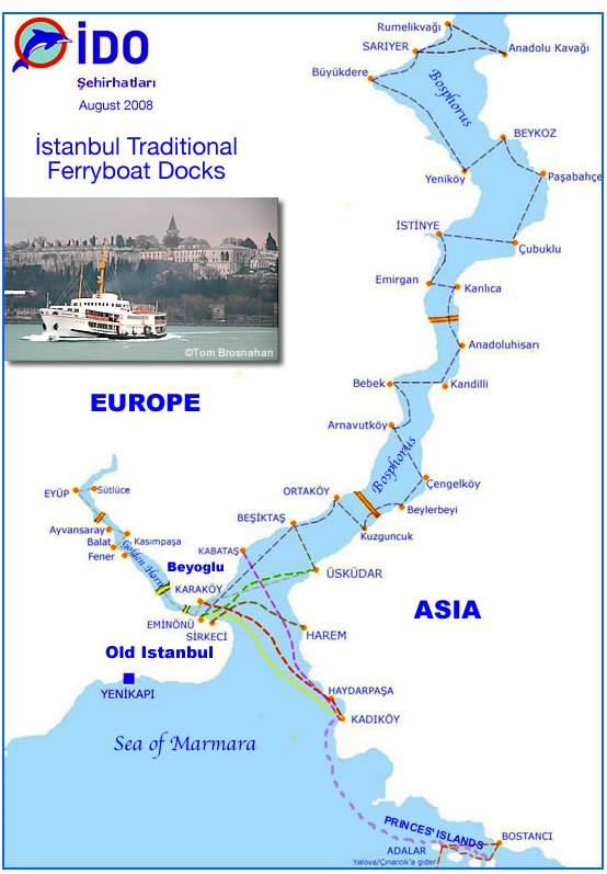 Map of Istanbul Ferry Routes
