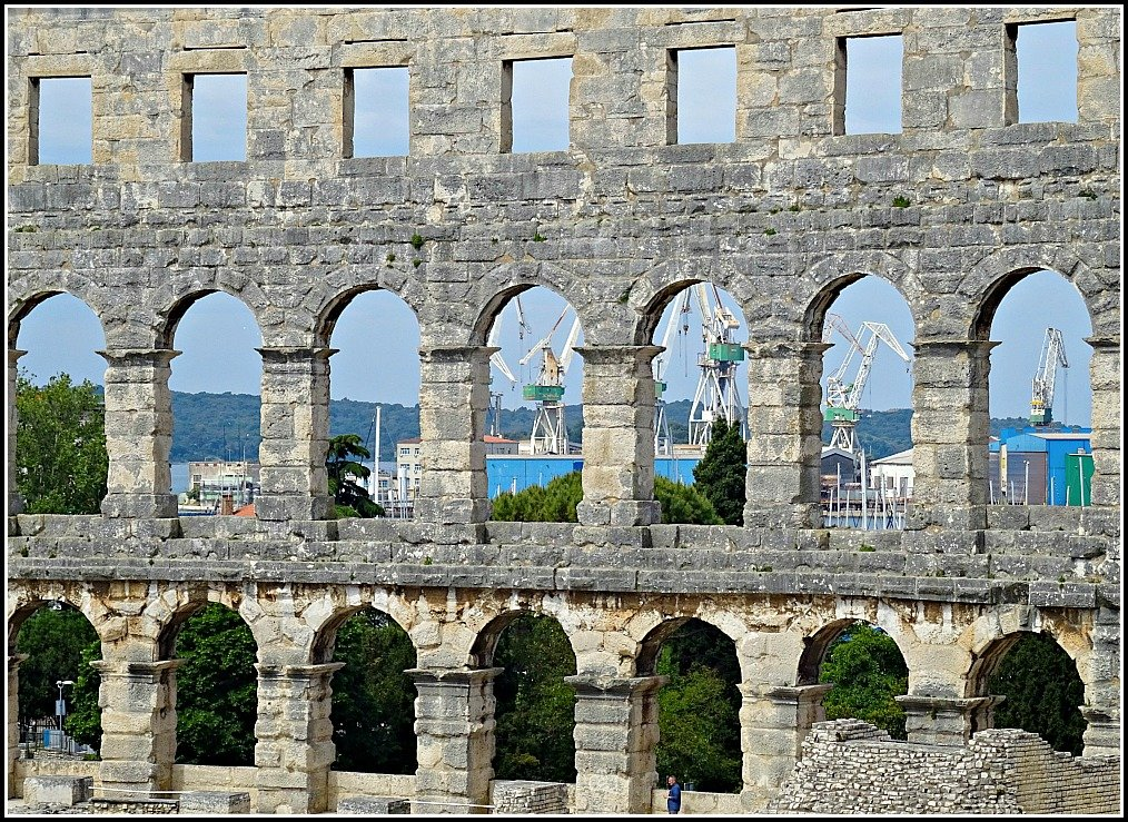 Port views from Pula's Arena