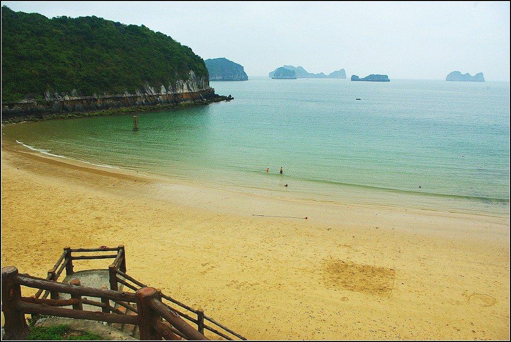Swimming at Cat Ba island in Lan Ha Bay Vietnam