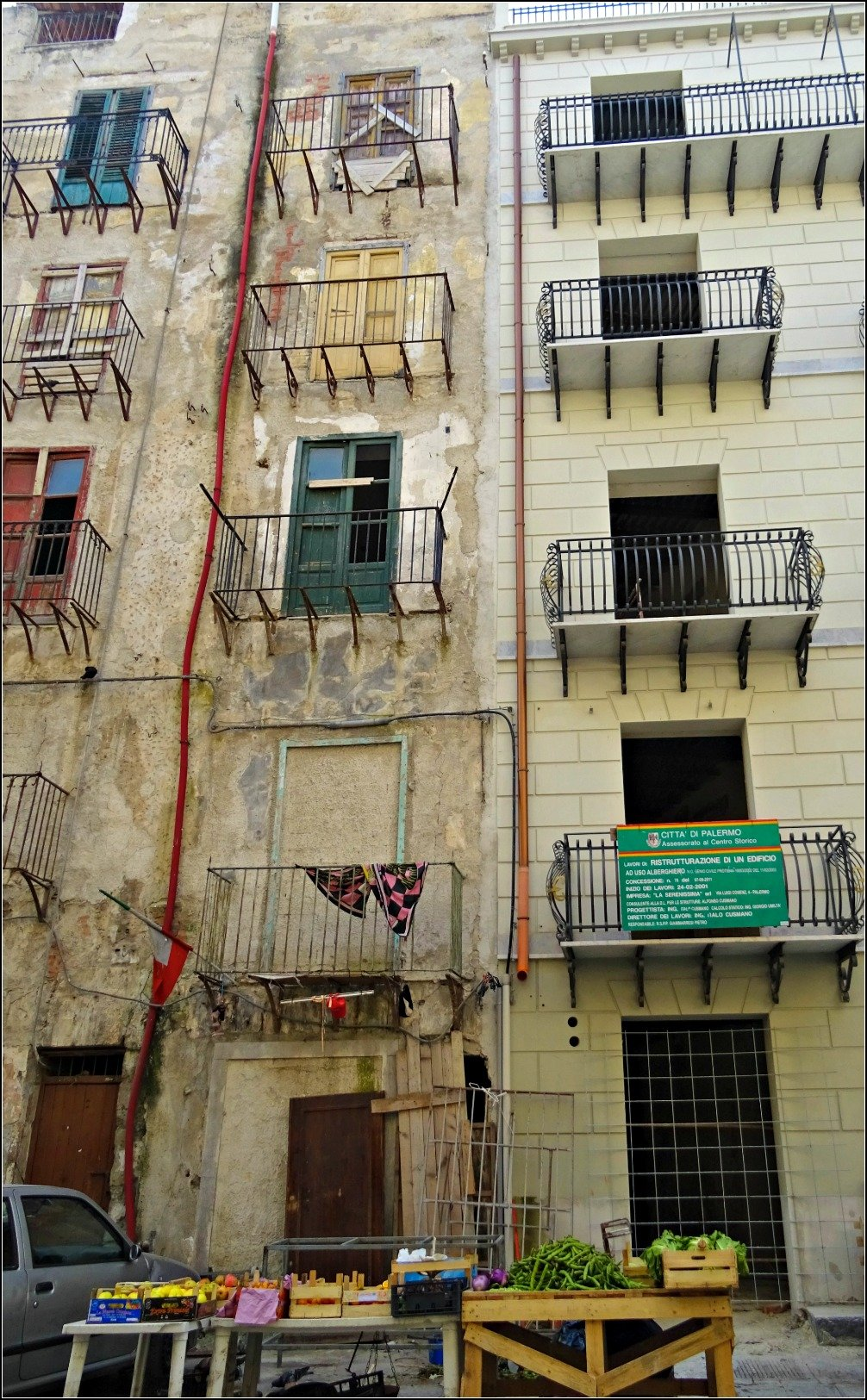 Fruit and Veg and old buildings in Palermo
