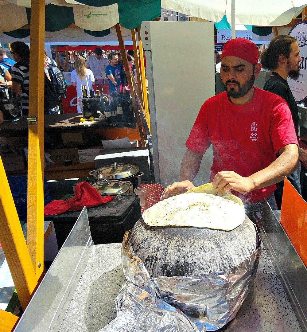 Cooking Bread Open Market Ljubljana