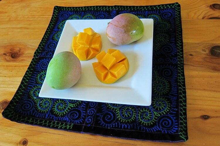 Platter of ripe Kensington Pride Mangoes