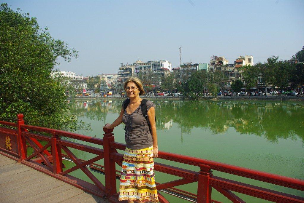 Huc Bridge at Ngoc Son Temple