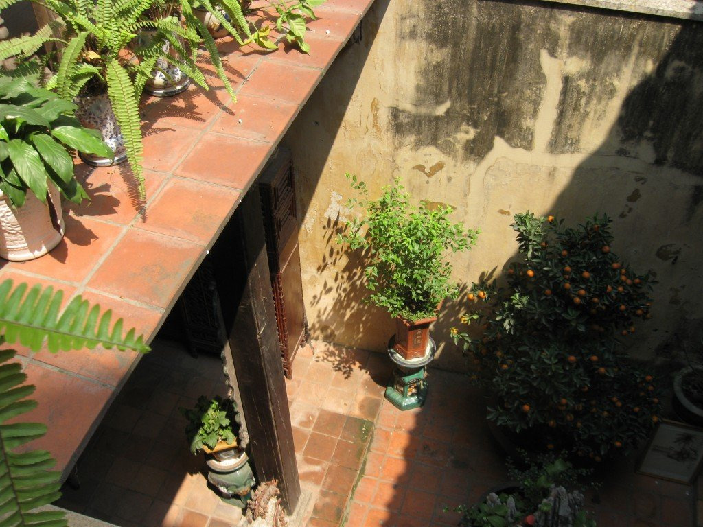 Looking down onto the courtyard that houses the toilet