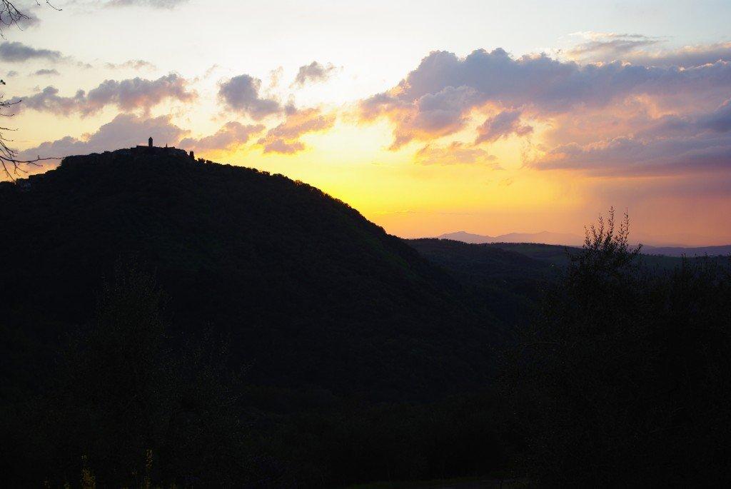Sun setting behind Montegiovi