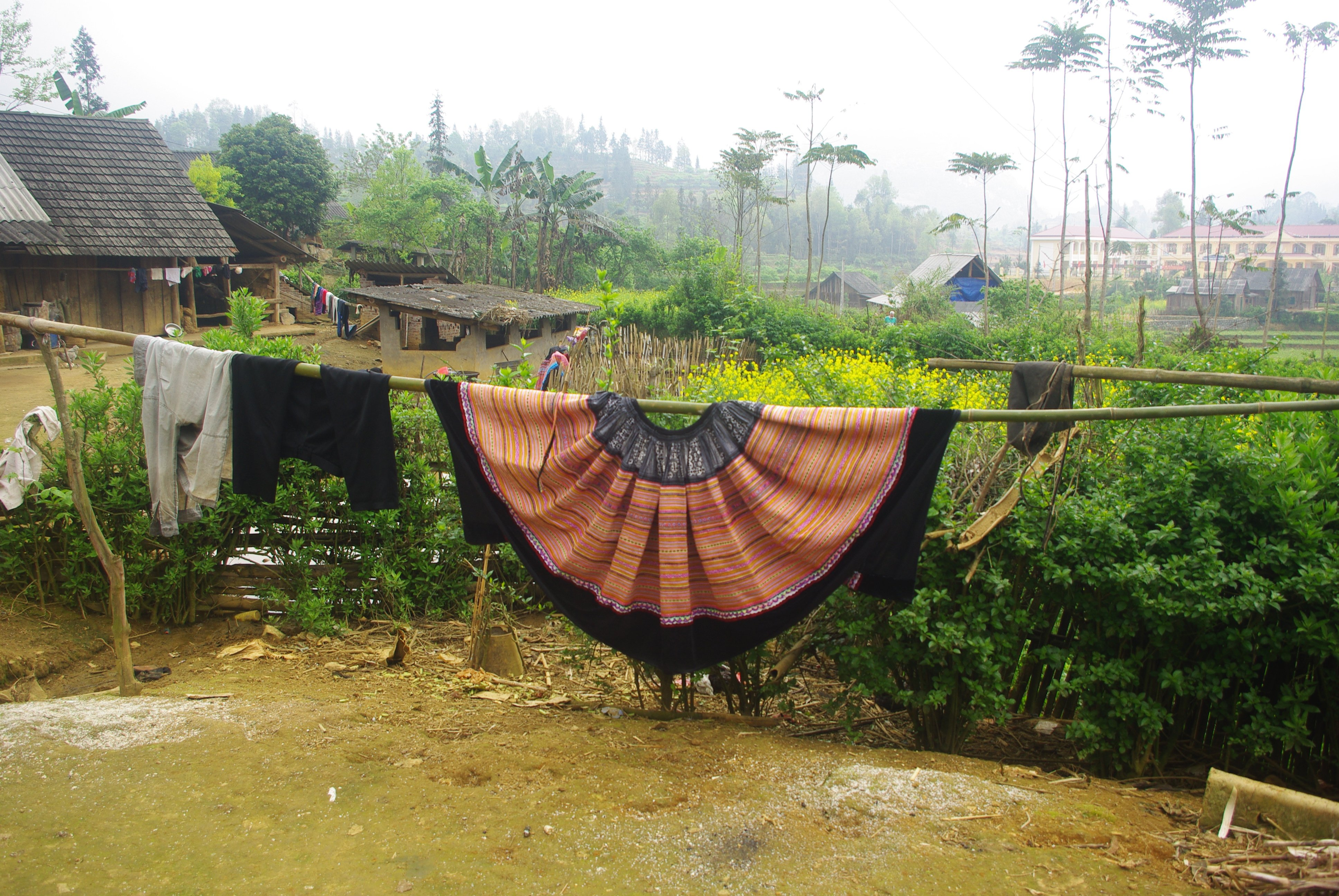 Flower Hmong skirt hanging out to dry