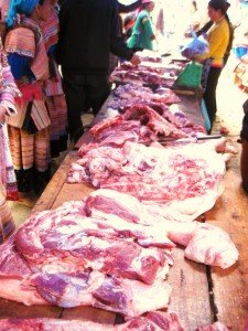 Pork for sale at the Bac Ha Markets