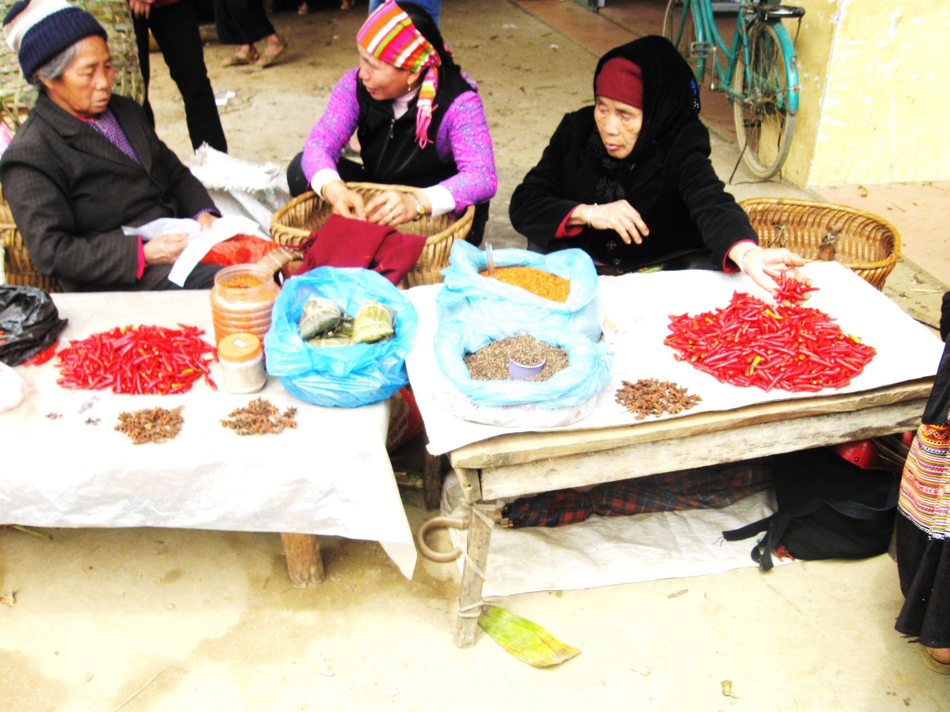 Chillies for sale, Bac Ha Markets, Vietnam