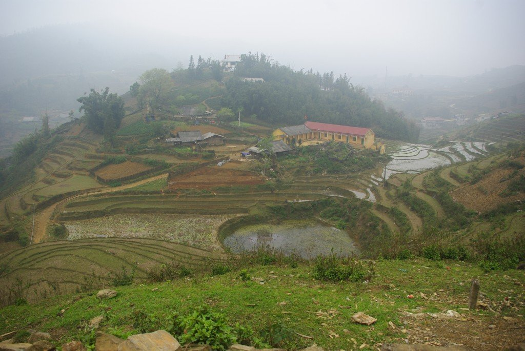 Misty but beautiful valley views from Sapa on the walk to Cat Cat