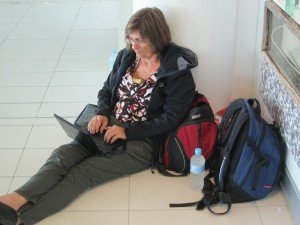 Charging and checking emails, Brisbane Airport