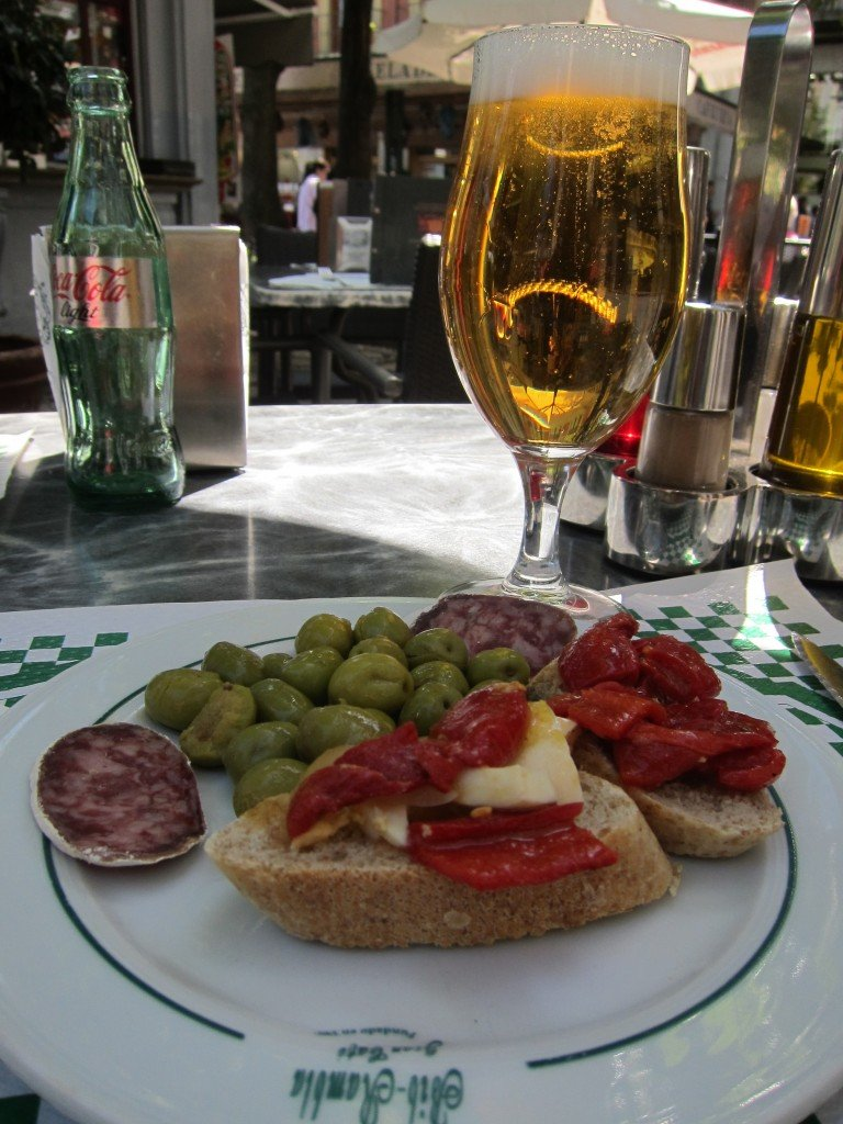 My first tapas in Granada.  It cost 3 euro including a fairly large beer.