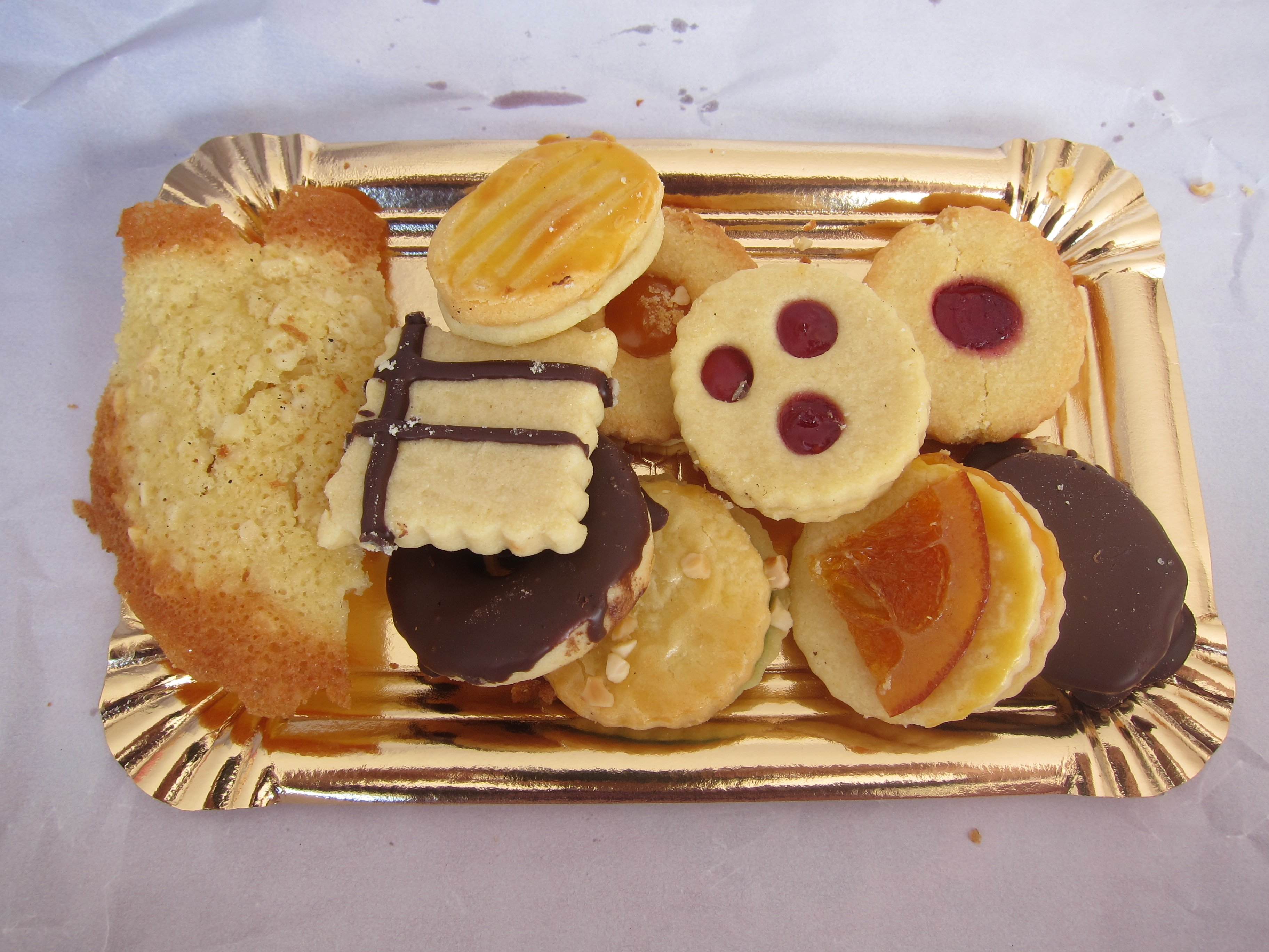 Biscuit Selection on a gold tray
