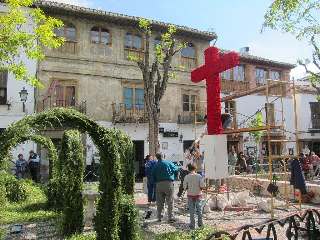 Day of the Cross preparations Plaza Larga, Granada, Spain