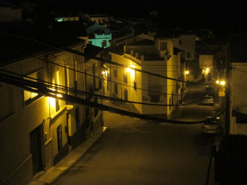 Through the power lines  - Our house sit  Calle (Street)  in Spain - by night
