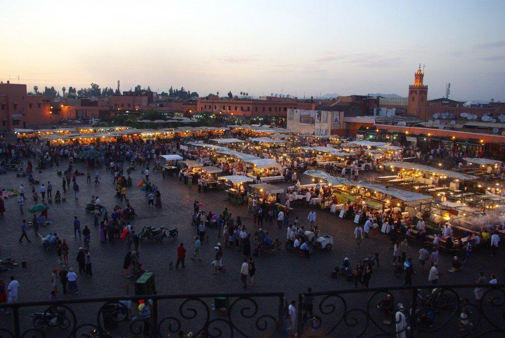 Evening at Jemaa El Fna Square, Marrakech, Morocco