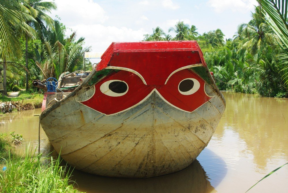 The eyes on this Vietnamese boat serve a dual purpose. To scare of demons and to guide the boat safely back to shore.