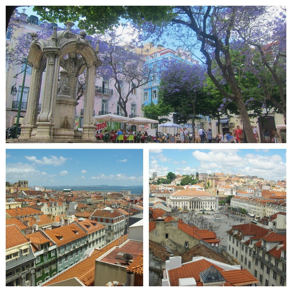 Views from the top of the Santa Justa lift and the jacaranda trees and pastel buildings of Carmo Square in Lisbon