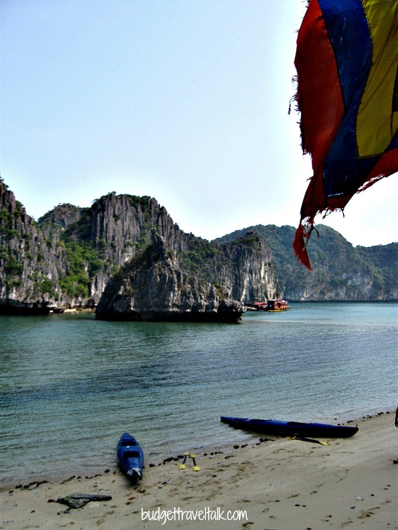 View from the temple in Lan Ha Bay back to our kayaks and mother boat.
