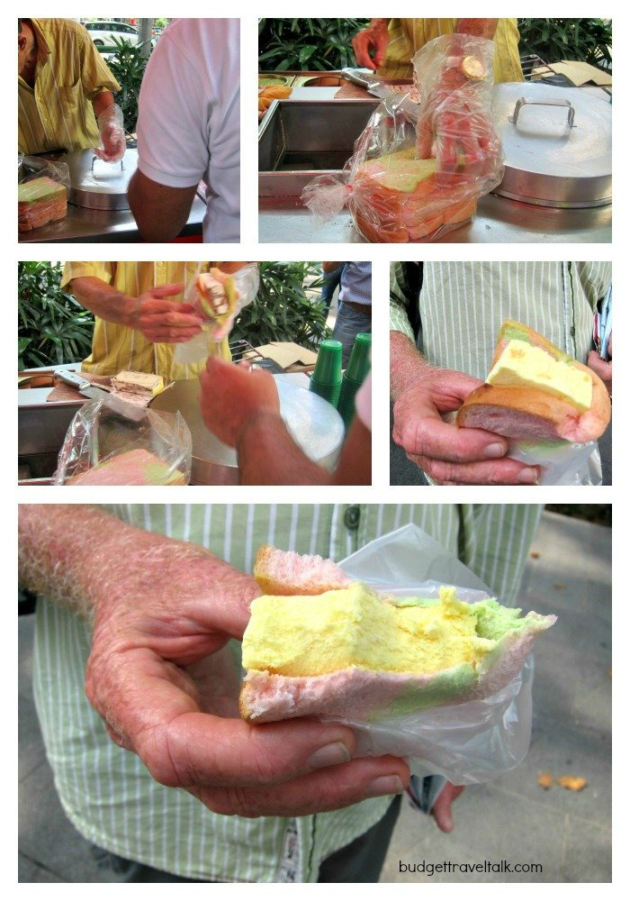 B.H. chowing down on a Singapore Street Sandwich - Passionfruit icecream on rainbow bread.