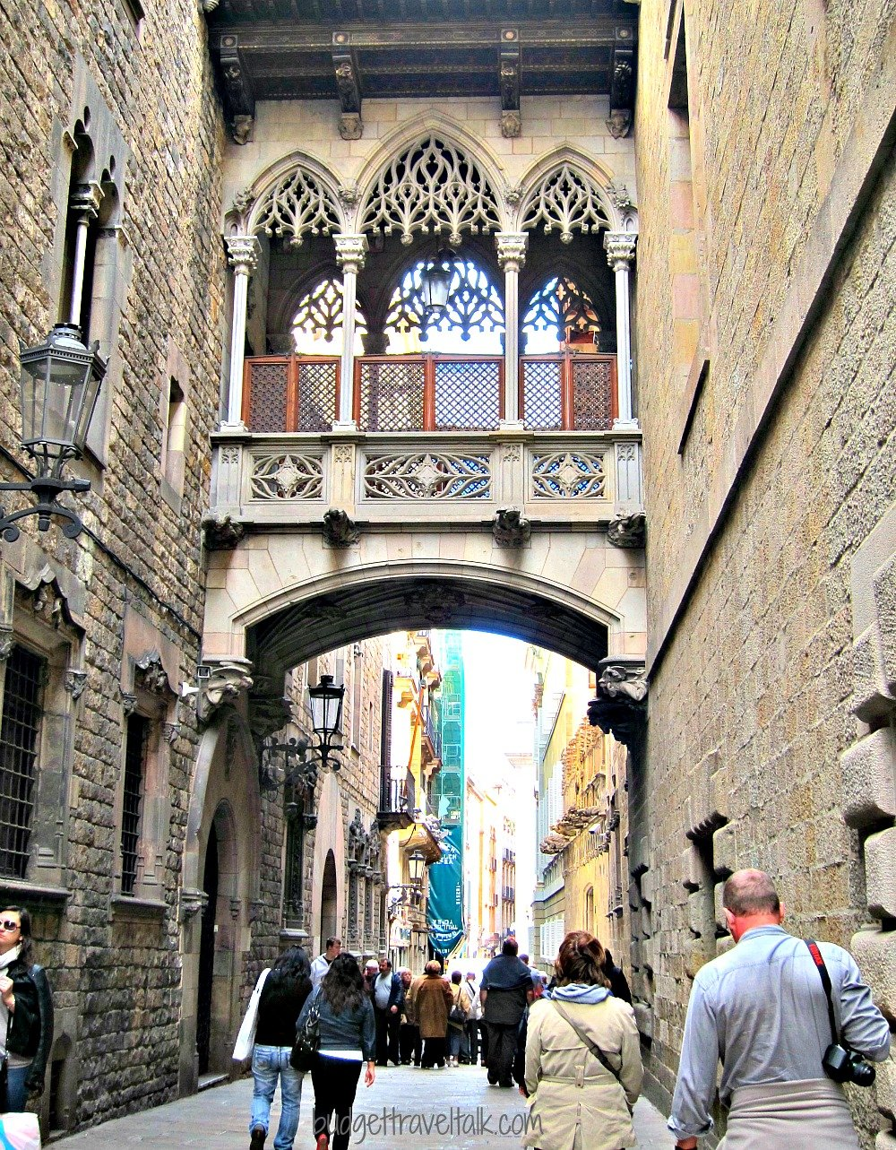 We never tired of walking under this neogothic bridge in Barri Gotic