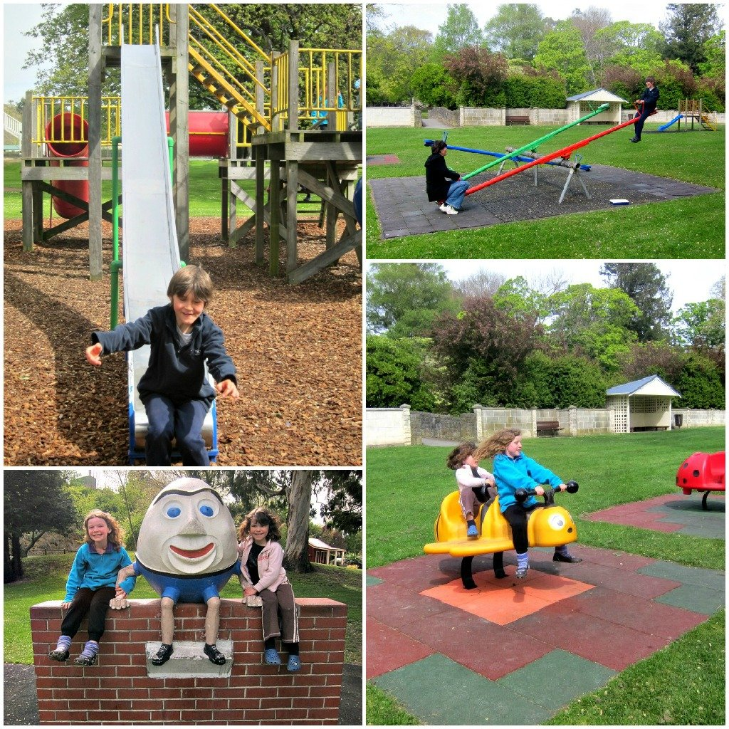 Humpty Dumpty and See Saw Marjory Daw-two Victorian themed playground rides.