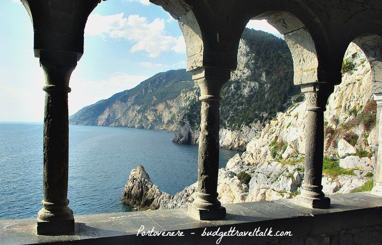 View through the arched loggia Church of San Pietro, Portovenere