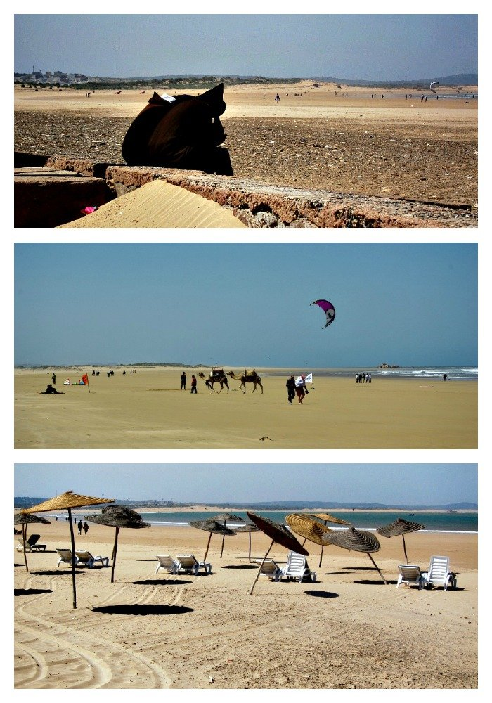 Djellaba clad figures, Camels and Kite Surfers, Beach Umbrellas