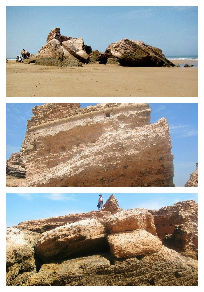 A collapsed Portuguese Fort on the beach at Essaouria.