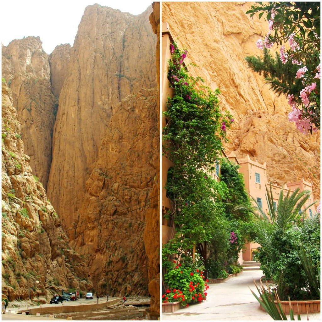 A shallow river runs through the Todra Gorge with a resort wedged against the steep walls.