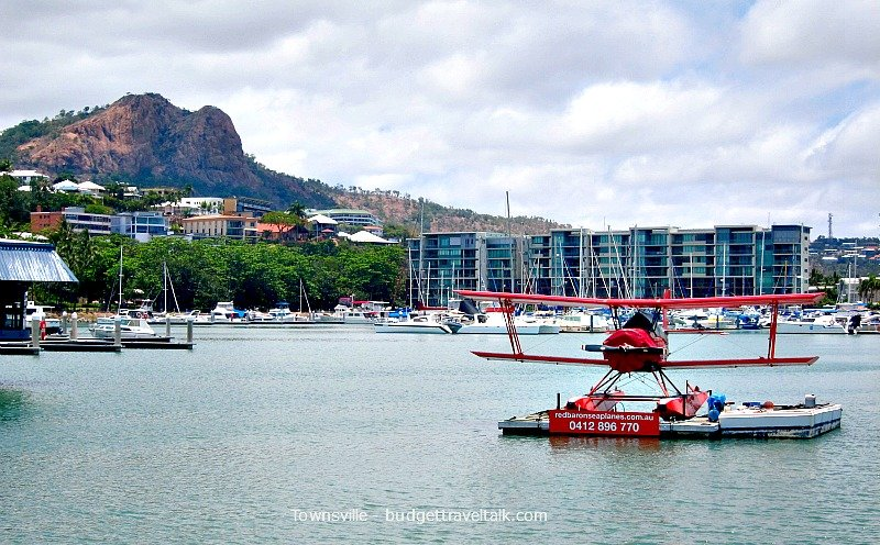 A photo of the Townsville Red Baron with Castle Hill in the background.