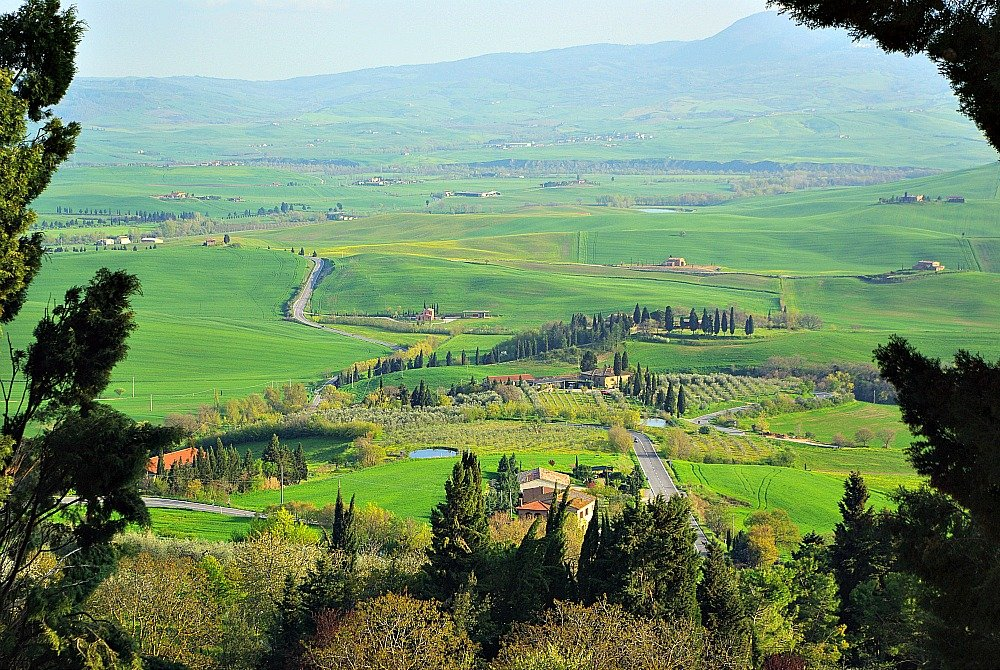 The View from the village of Montepulciano in Tuscany was of green fields as far as the eye could see.