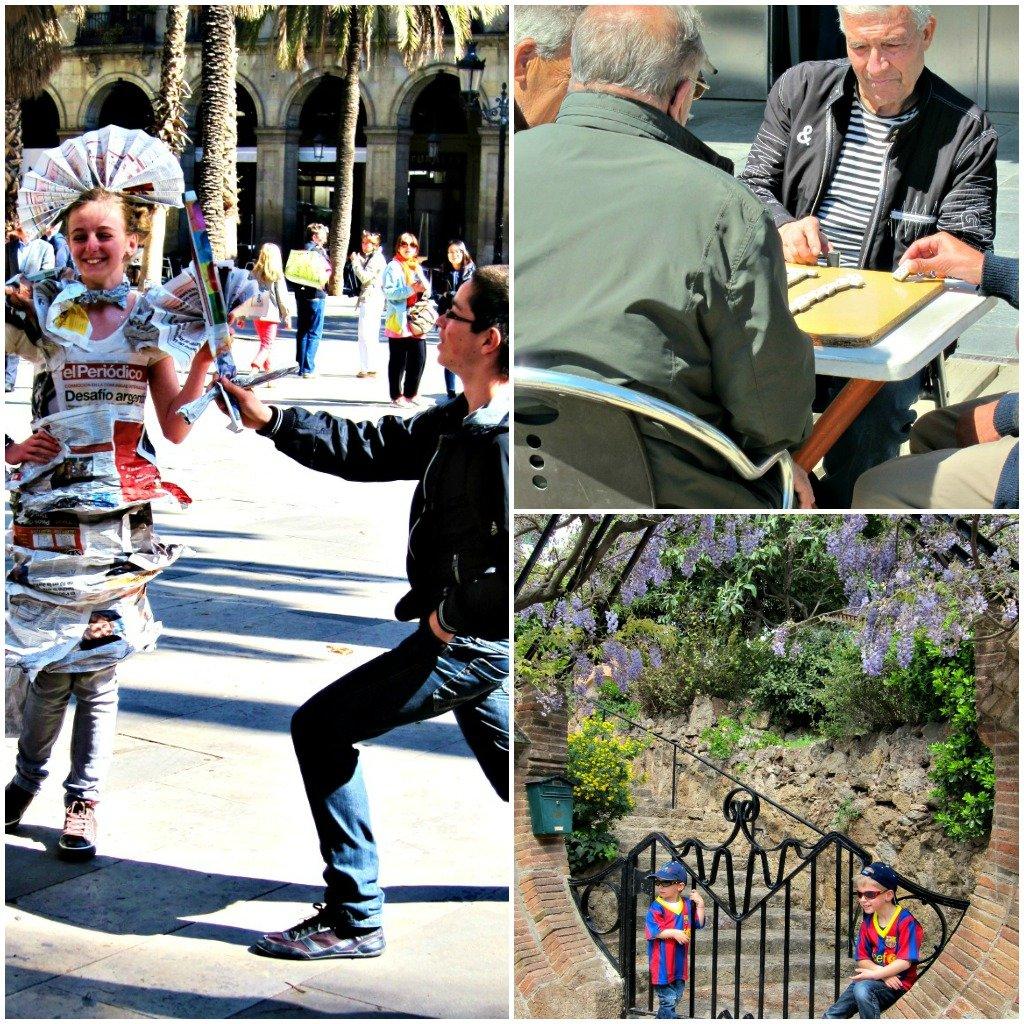 Three photos of Barcelona street life.