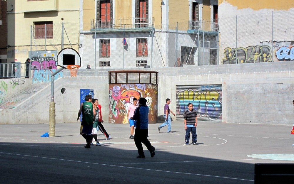 We came across a game of basketball one morning in Barcelona