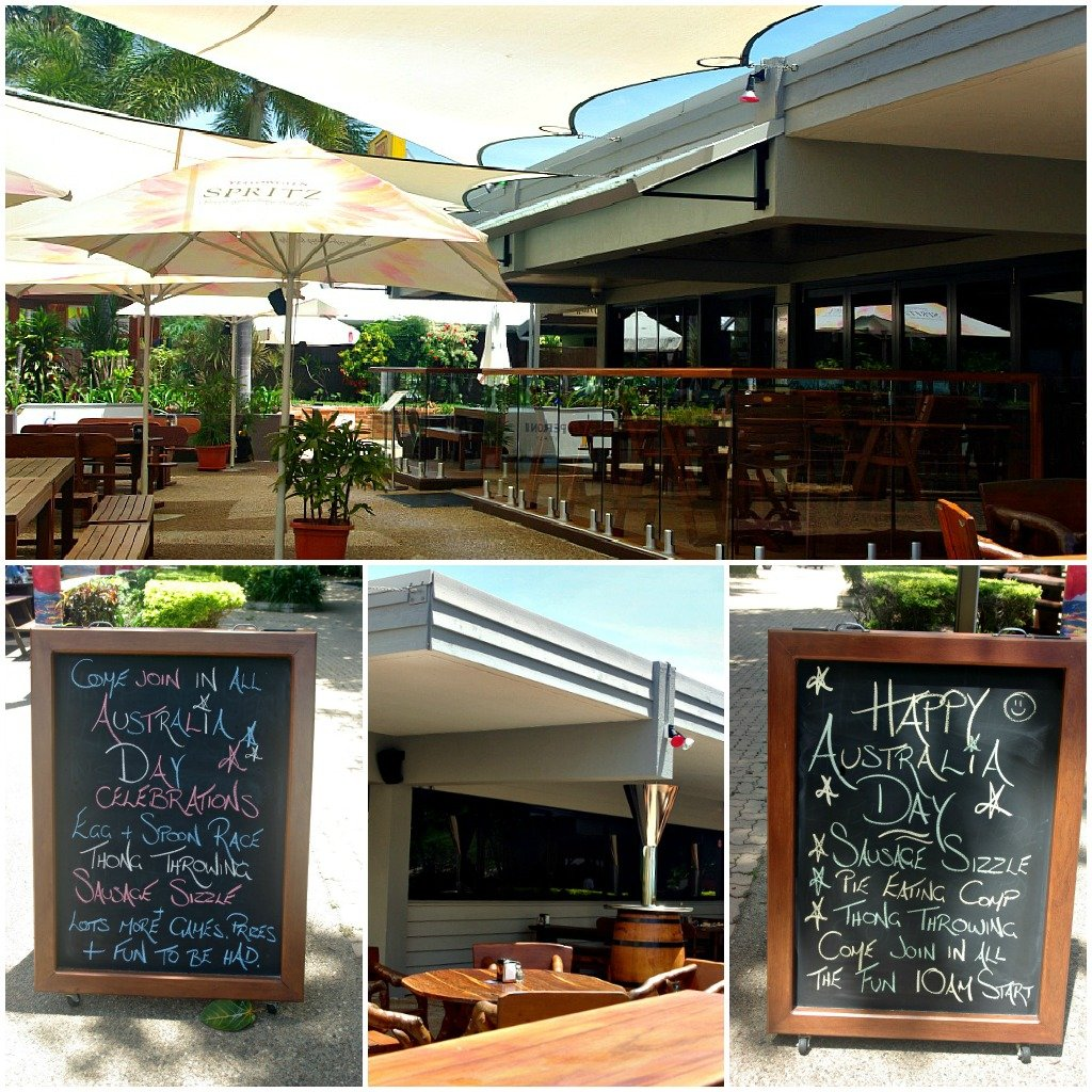 Photo Collage of Picnic Bay Hotel on Magnetic Island, Australia Day Blackboards and bars