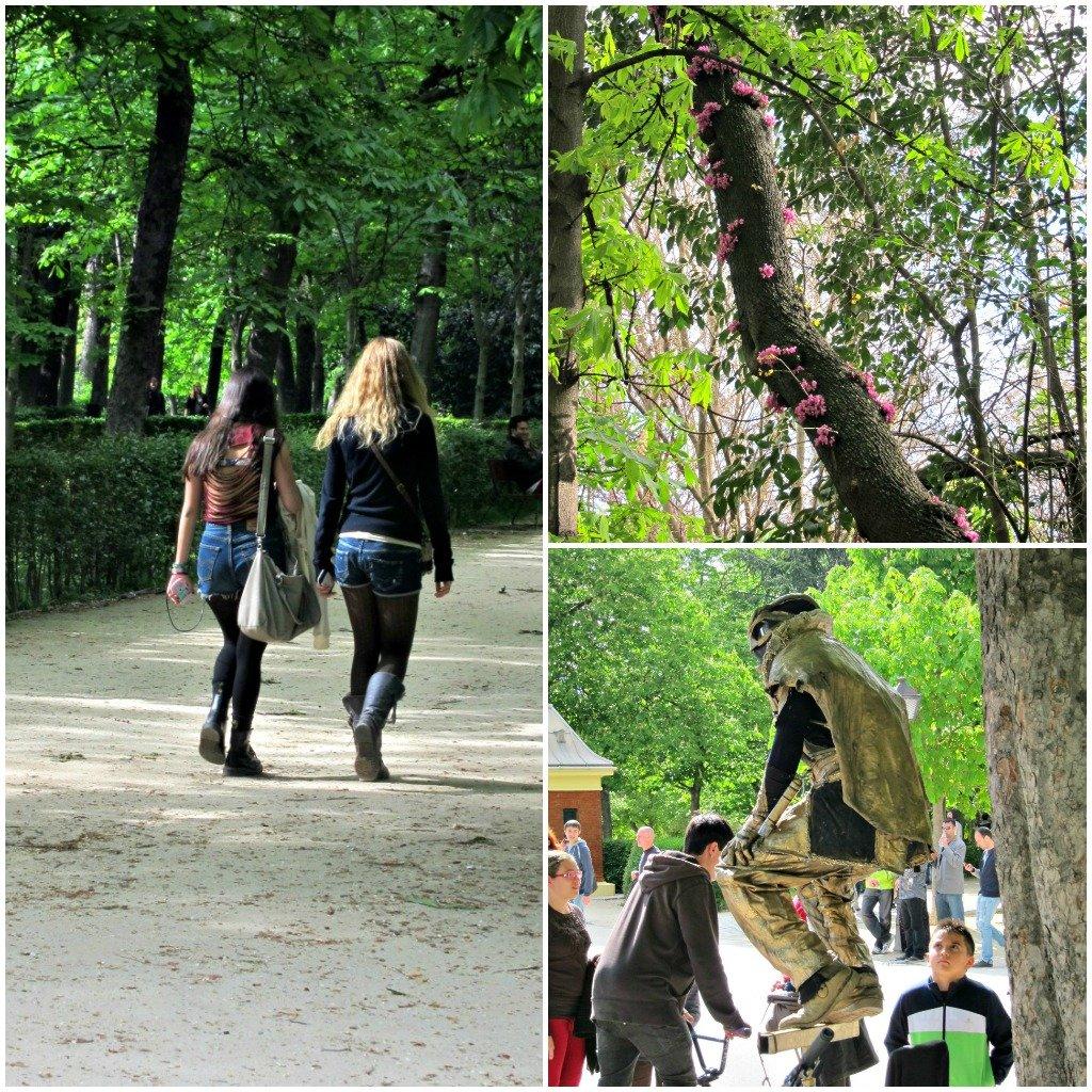 Retiro park girls and human statue
