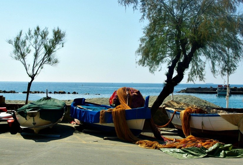 Fishing Boats pulled ashore on the Cinque Terre walk.
