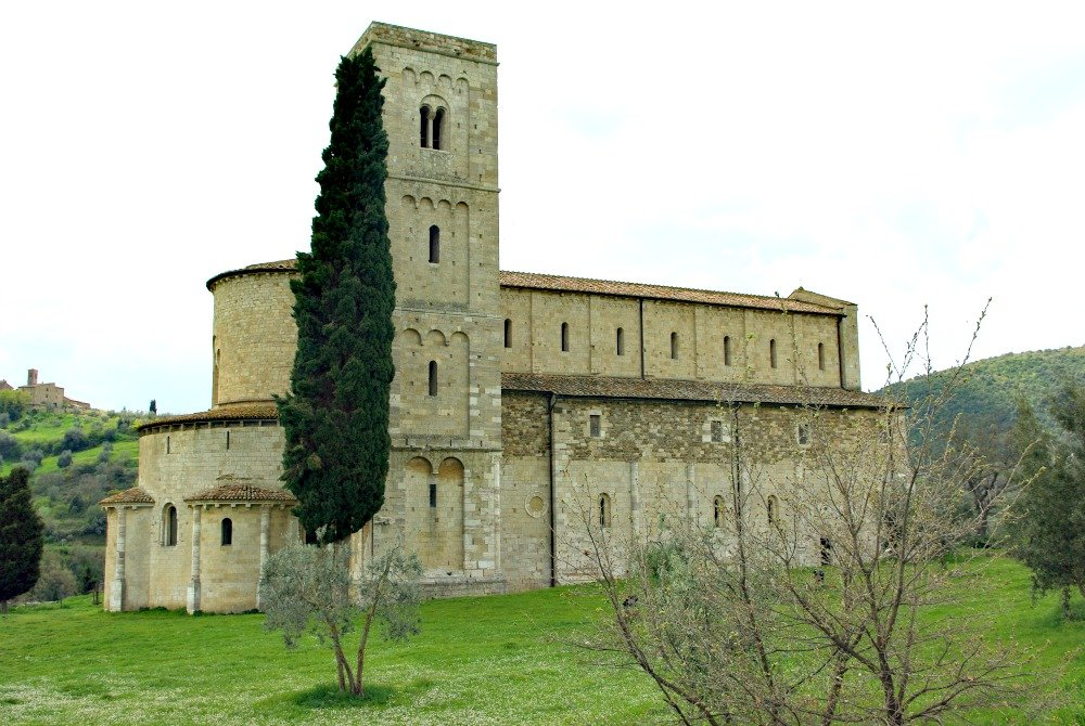 The abbey of Di Sant'Antimo in the Tuscan Countryside.
