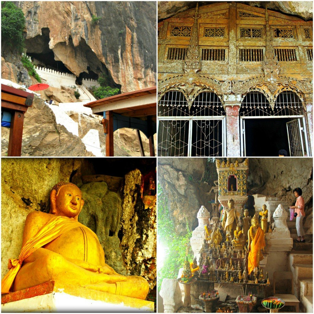 A collage of images from Pak Ou Caves