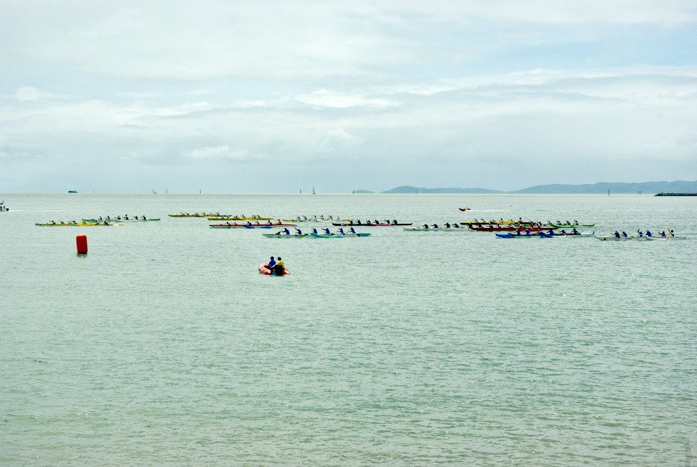 Canoes racing in Townsville