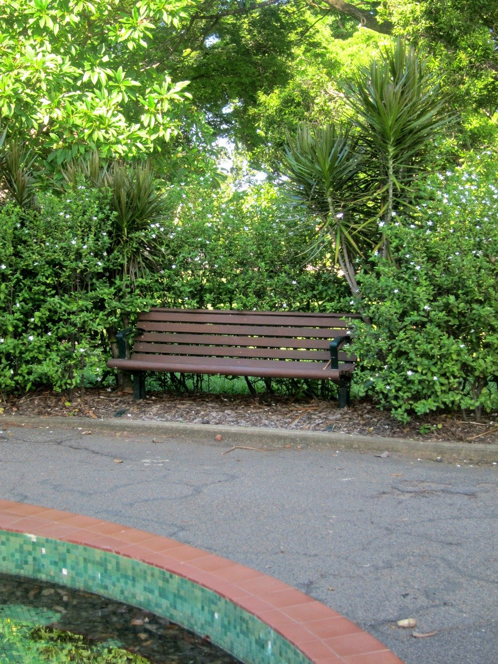 A seat to watch the children enter the mazes.