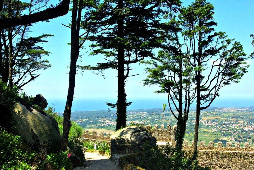 View through the trees at Castello Mouros