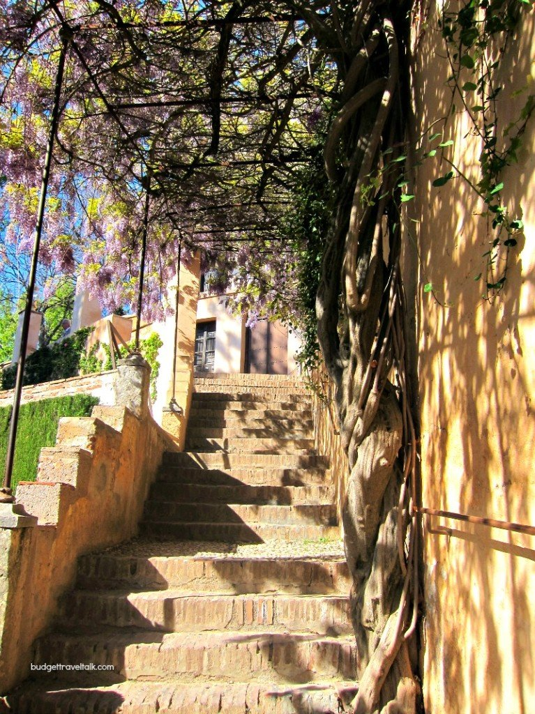 Alhambra Stairs and Pergola leading to the romantic mirador