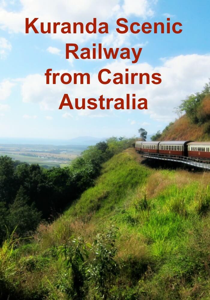 Kuranda Scenic Railway Carriages looking to the Coral Sea of Cairns on it's way to Kuranda