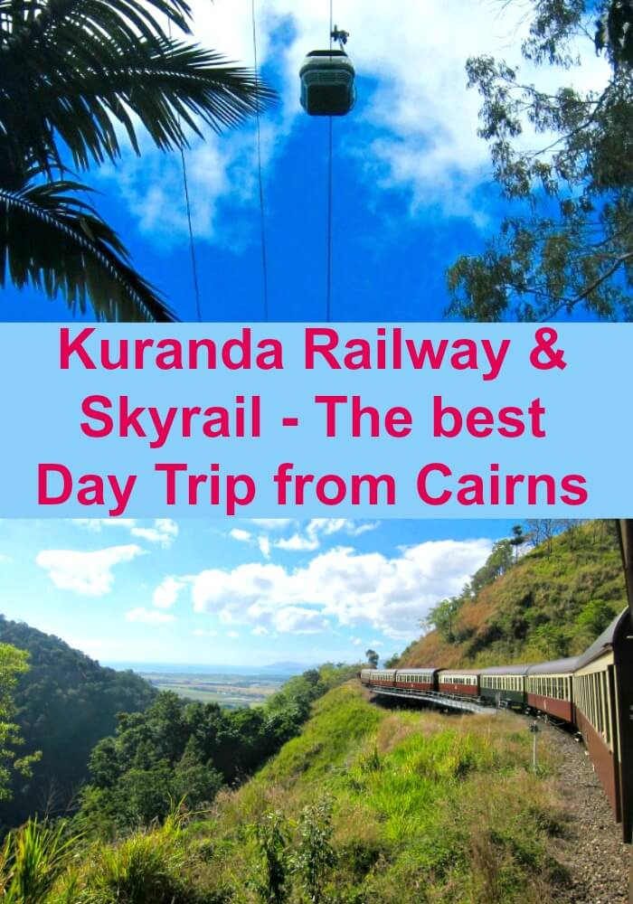 Collage of Skyrail Cairns against blue skies and Kuranda Scenic Railway climbing the tracks to Atherton Tableland