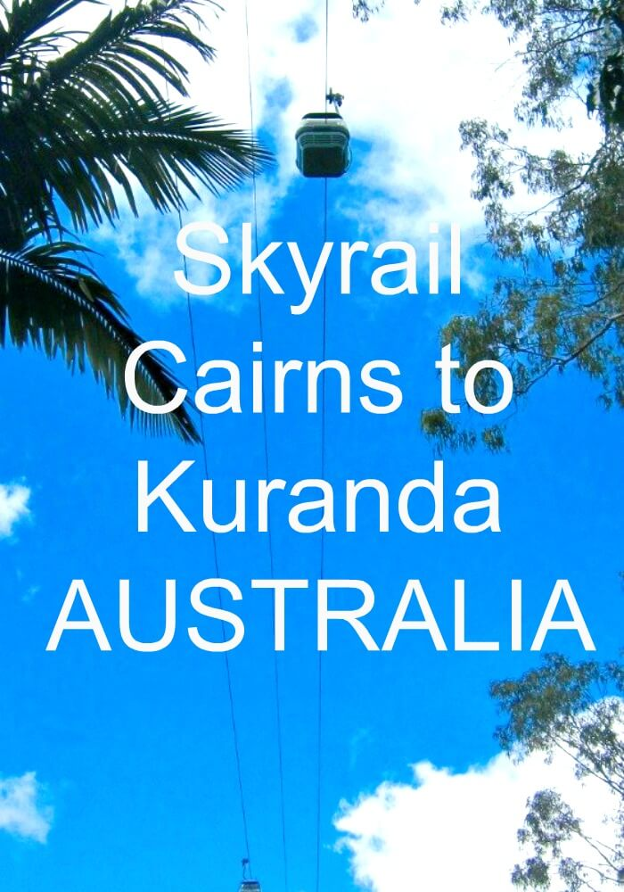 Blue Sky and Palm Trees with Skyrail cablecar overhead