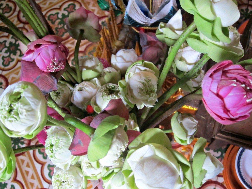 Inside Wat Phnom flowers