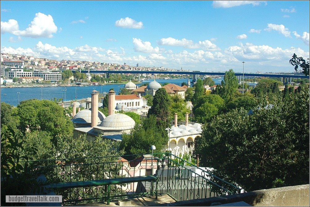 View from Eyup Cemetery over Eyup Sultan Mosque Istanbul Turkey